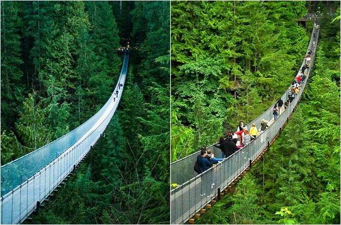 Посещение моста с большим количеством людей доставляет больше удовольствия, так как сильнее раскачивается.