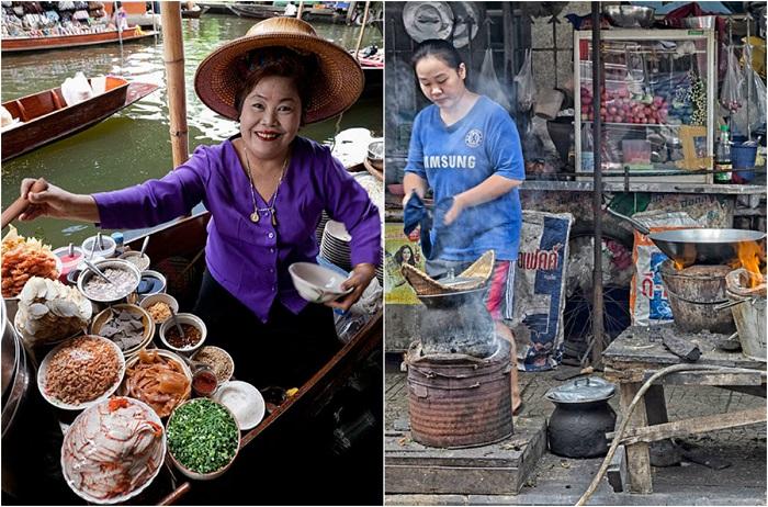 Еда с плавучих рынков и с уличных одинаково вкусная.