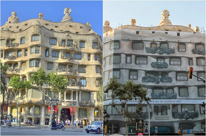 При желании знакомства с одним из шедевров зодчества столицы Каталонии, можно разочароваться видом реставрируемого здания.