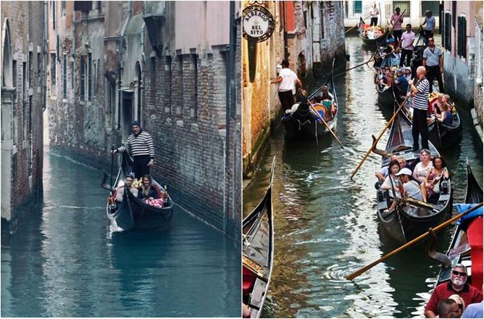 Туристические места Венеции очень многолюдны.
