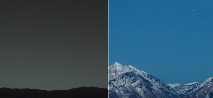 Земля с Марса, запечатленная марсоходом Curiosity, и Марс с Земли, запечатленный фотографом Биллом Данфордом (Bill Dunford).