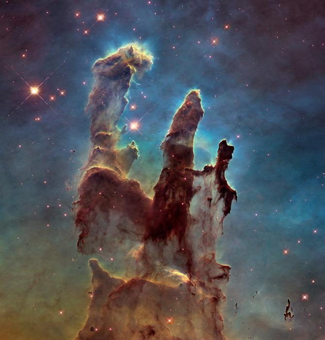 Удивительно стройные и красивые структуры в туманности Орла. Фотограф НАСА, ЕКА и Наследие Хаббла.