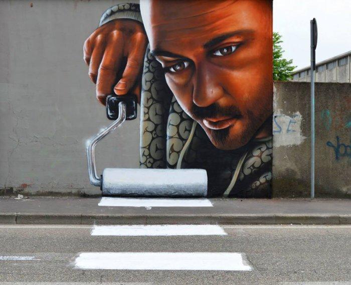 Умный стрит-арт уличного художника Каифа Козимо готовый спрыгнуть со стен и вторгнутся в наш мир.