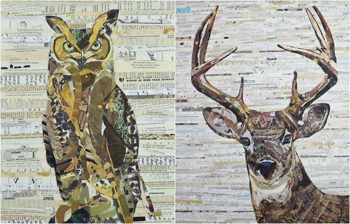 Картины «нарисованные» с помощью бумаги.