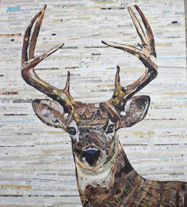 Портрет благородного животного Северной Америки, выполненный из бумаги и клея.