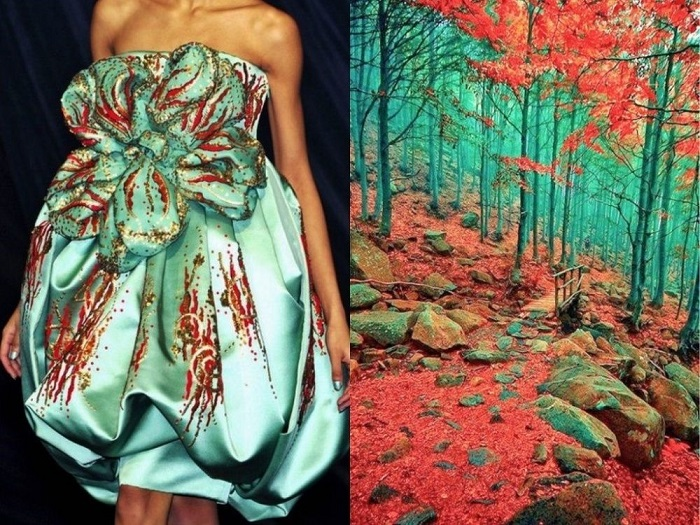 Dress reminiscent of a picturesque corner of the Earth in Liguria, Italy.