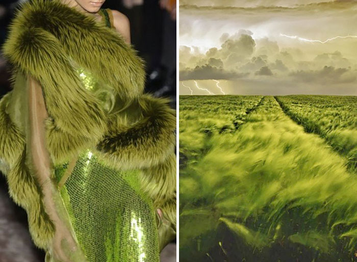A dress showing the beauty of a green field.