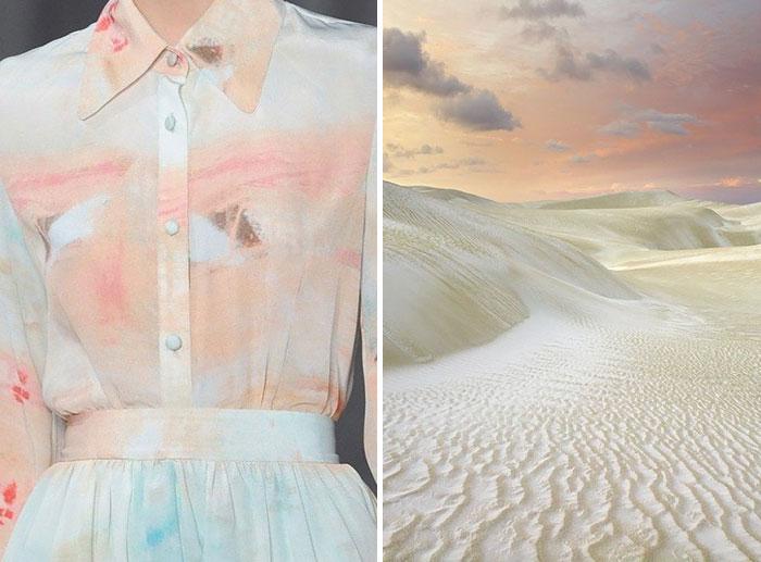 The calm color of the sandy beach.