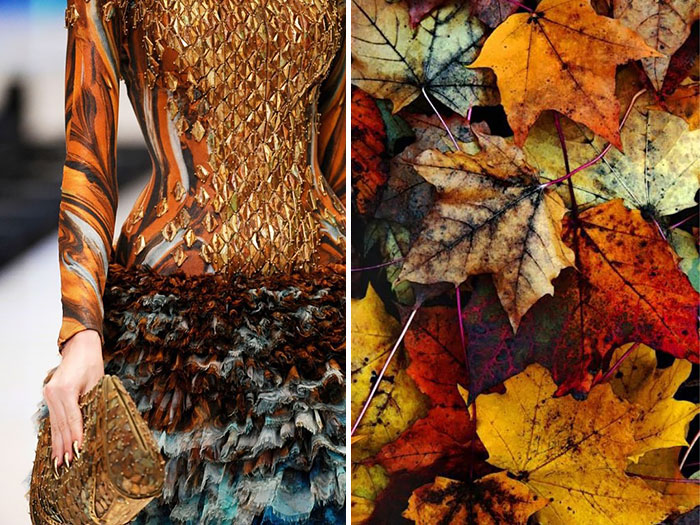 Dress showing the bright colors of fallen leaves.