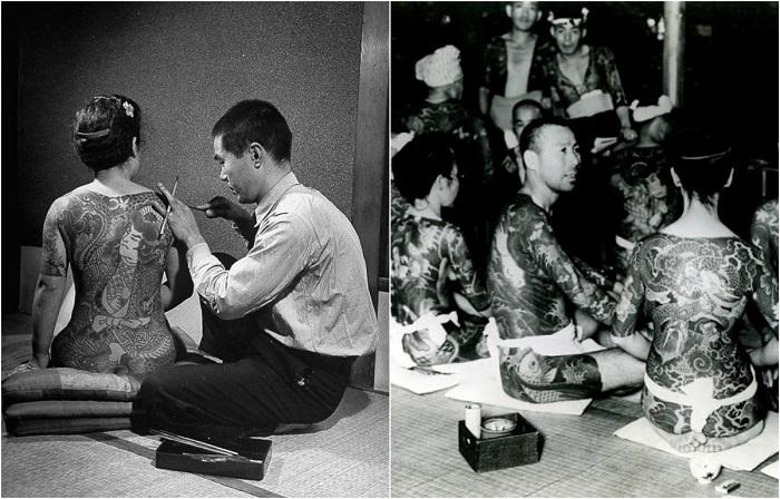 Ретро фотографии якудзы с их устрашающими татуировками.