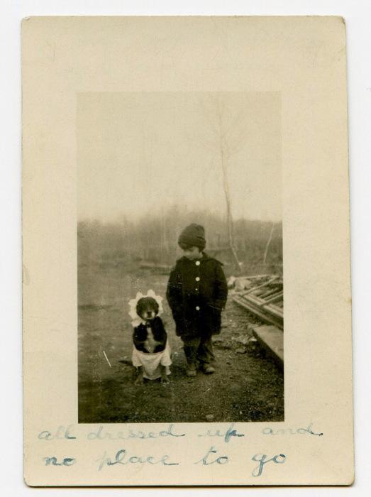 Ребенок вывел пса на прогулку одетым в одежду сестры.