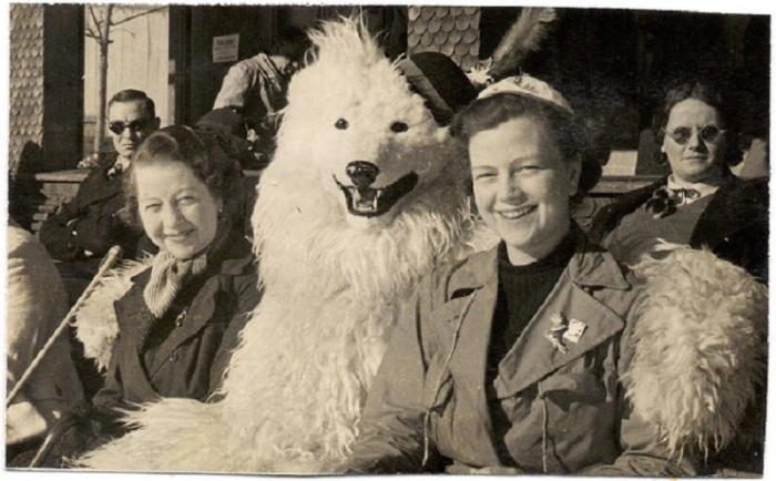 Женщины фотографируются с белым медведем.