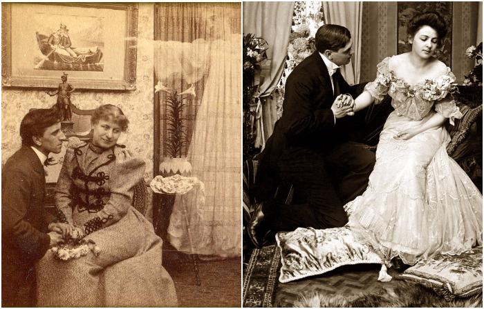 Ретро фотографии, на которых запечатлены признания руки и сердца