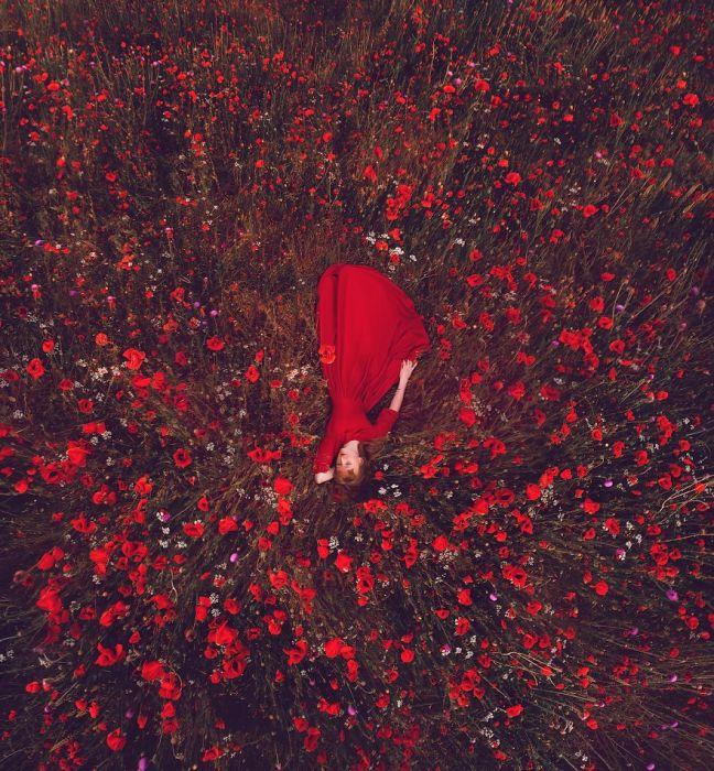Модель в красном платье посреди огромного поля цветущих маков, Крым.