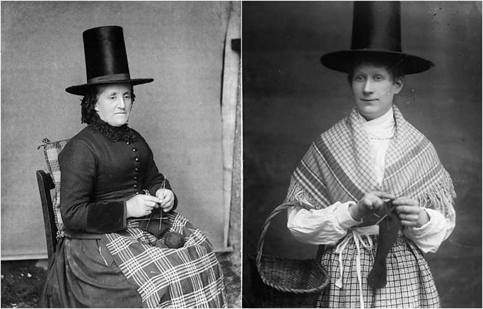 Подборка снимков валлийских женщин в национальных костюмах.