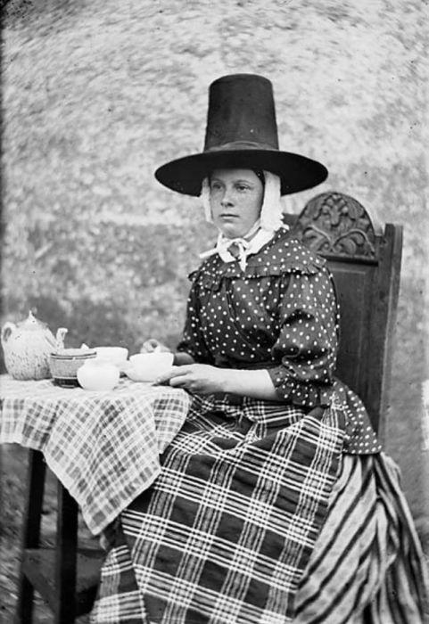 Неизменными атрибутами традиционного повседневного женского костюма являлись верхняя юбка в полоску и клетчатый фартук.