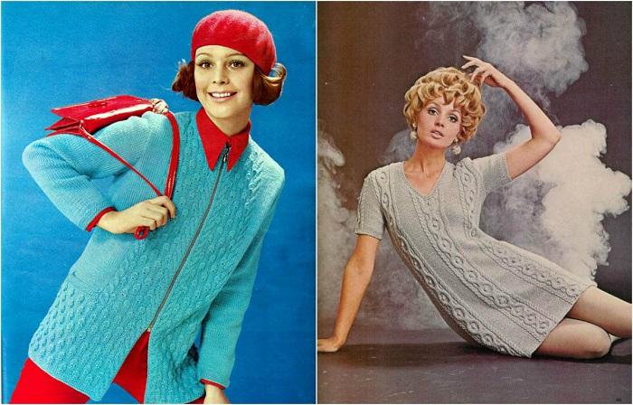 Женская вязаная одежда 1970-х годов.