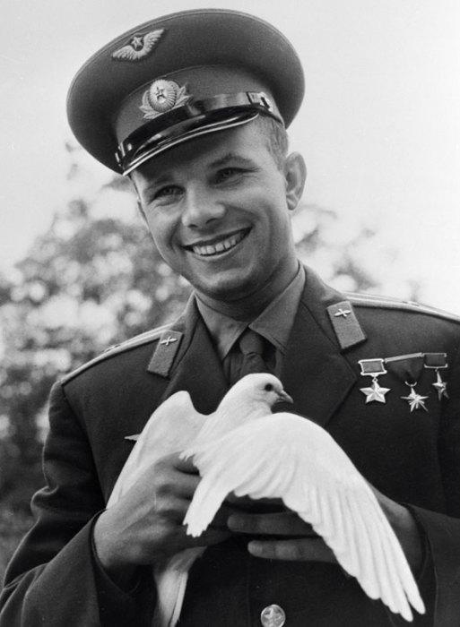 Гагарин держит голубя, подаренного болгарскими пионерами.