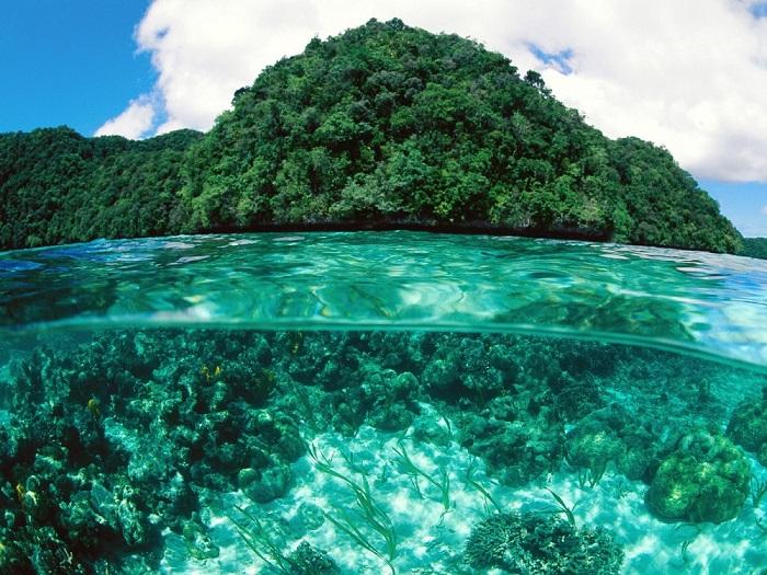 Покрытые растительностью острова-холмики изначально были разноцветными коралловыми рифами.