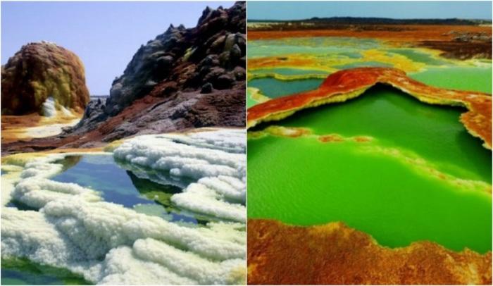Темно-оранжевые минеральные корки, ярко желтые зеленовато-желтые залежи серы и лимонно-зеленые кислотные озера сливаются в дезориентации цвета.