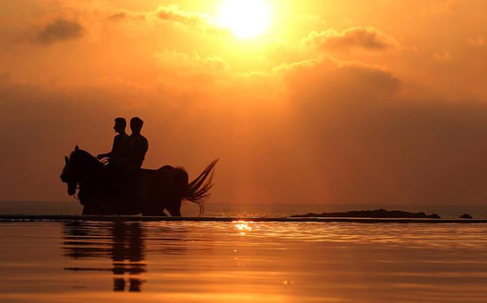 Прогулка на лошадях во время заката.