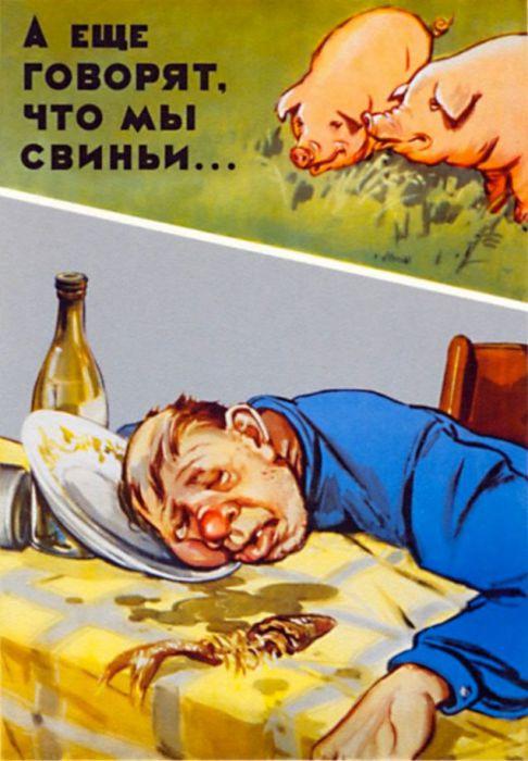 Сравнение пьяного парня со свиньями.