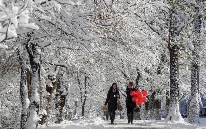 Зимняя аллея в Алма-Ате, Казахстан.