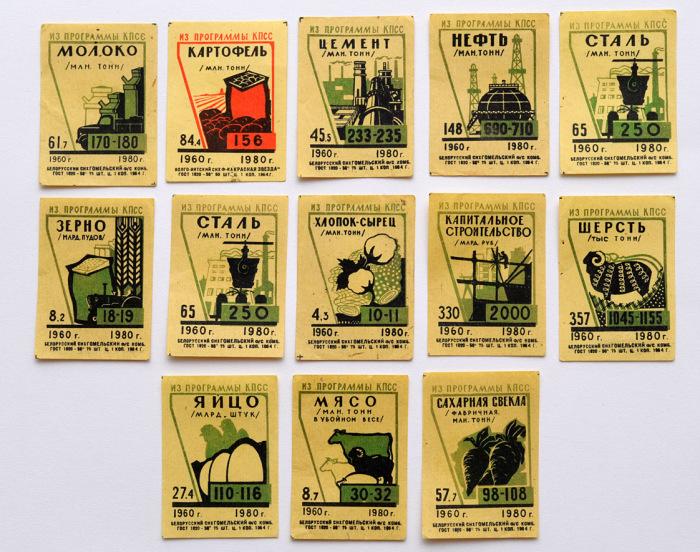 План строительства коммунизма с 1960-1980 года перенесен на спичечные коробки.