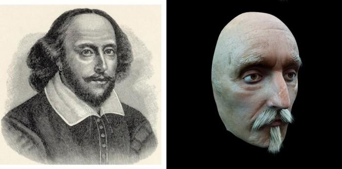 Лицо было реконструировано с посмертной маски английского поэта и драматурга.