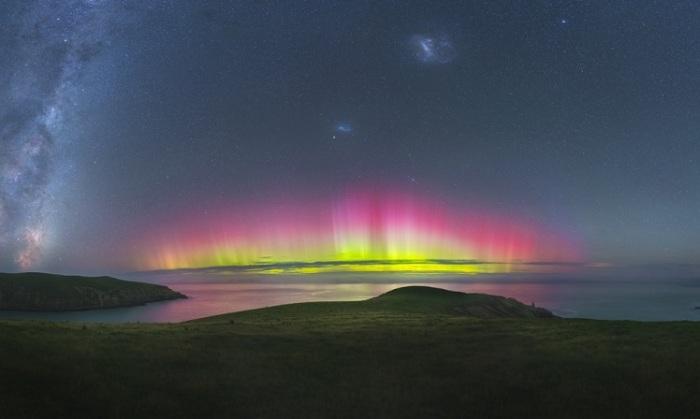 Сияние вспыхнуло около Крайстчерча, Новая Зеландия.