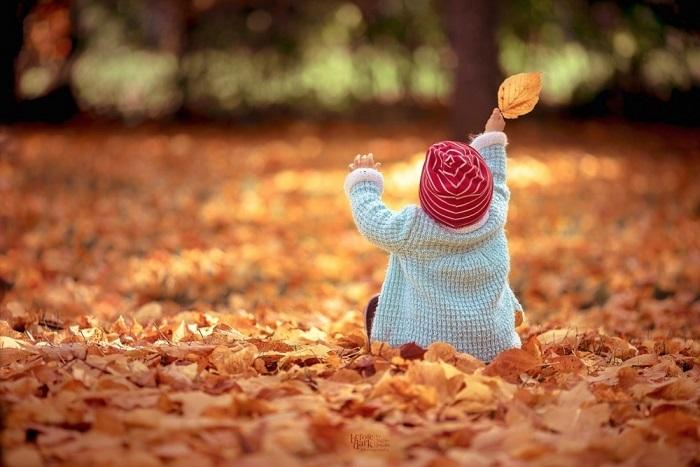 Осеннее удовольствие доставляет ребятишкам игра с опавшими листьями.