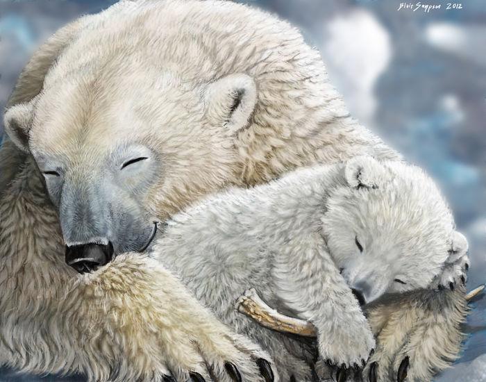 Мама медведица обнимает своего медвежонка.