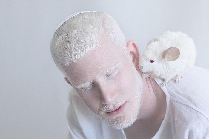 Мужчина-альбинос с белой шиншиллой на плече.