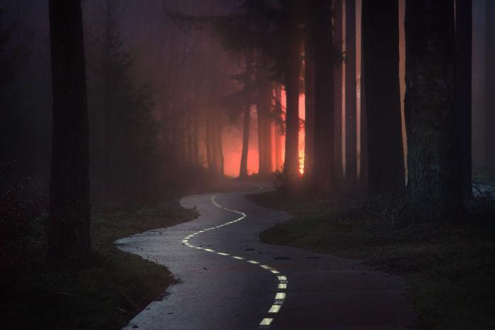 Зигзагообразная дорога туманным вечером.