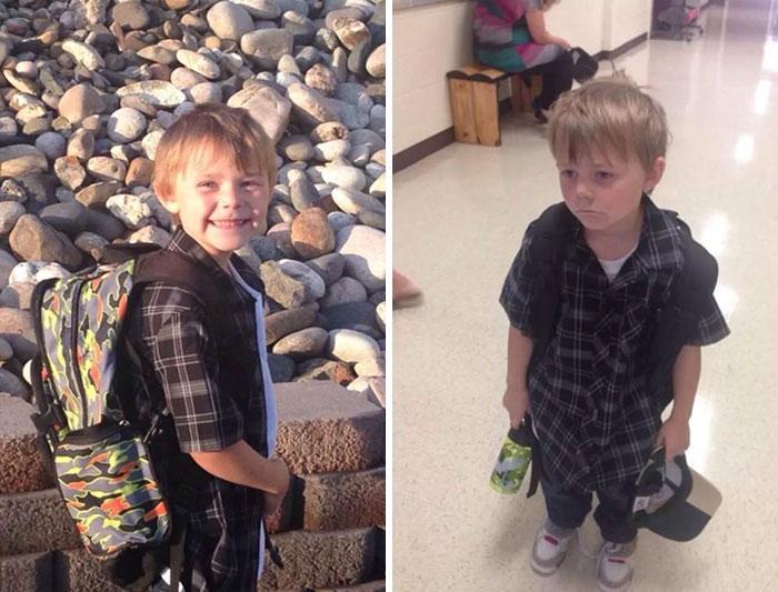 Две такие разные фотографии про впечатления ребенка о школе и школьных занятиях.