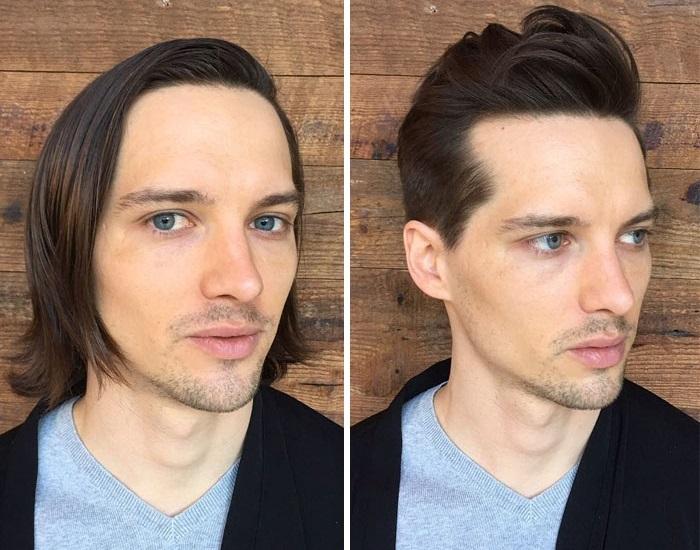 Ему совершенно не следует переживать по поводу отсутствия длинных волос – вышла отличная стрижка.