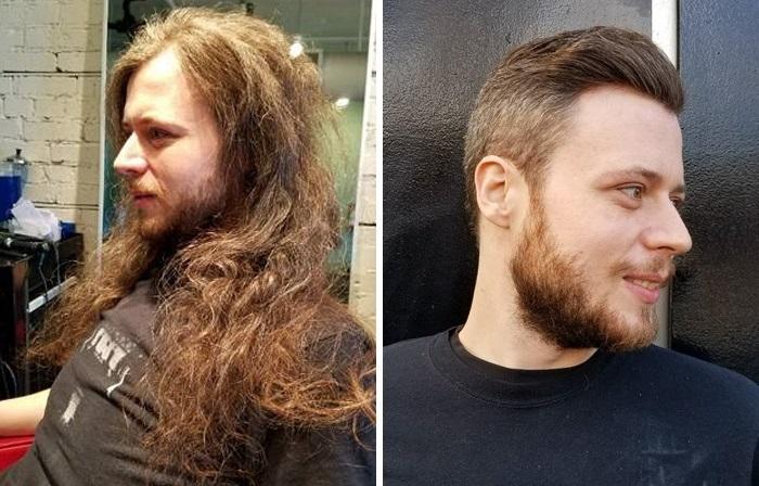 Мужчины до и после посещения парикмахера.