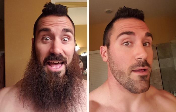 Мужчины до и после бритья.