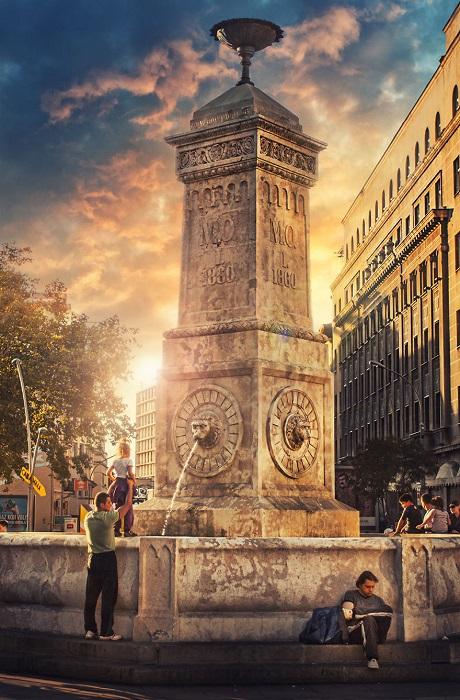Питьевой фонтан, возведенный на площади в честь празднования второго срока правления князя Милоша.