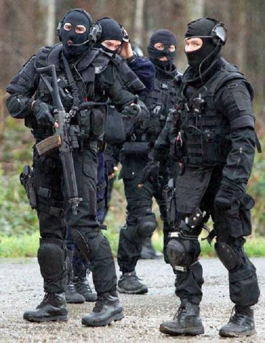 Вооружённые сотрудники сил безопасности прочёсывают лес в поисках террористов, причастных к расстрелу редакции сатирического журнала Charlie Hebdo в Париже.