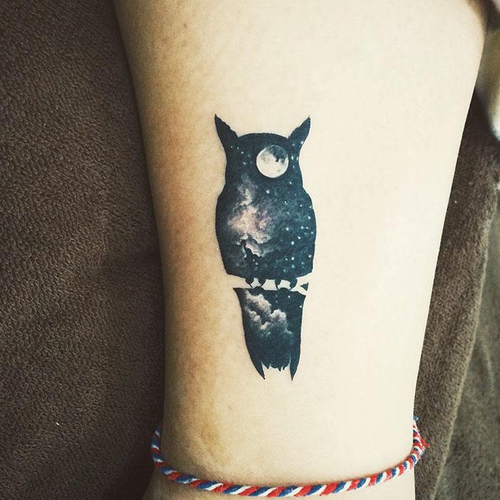 Черная сова густо покрыта звездами и луной в глазе.