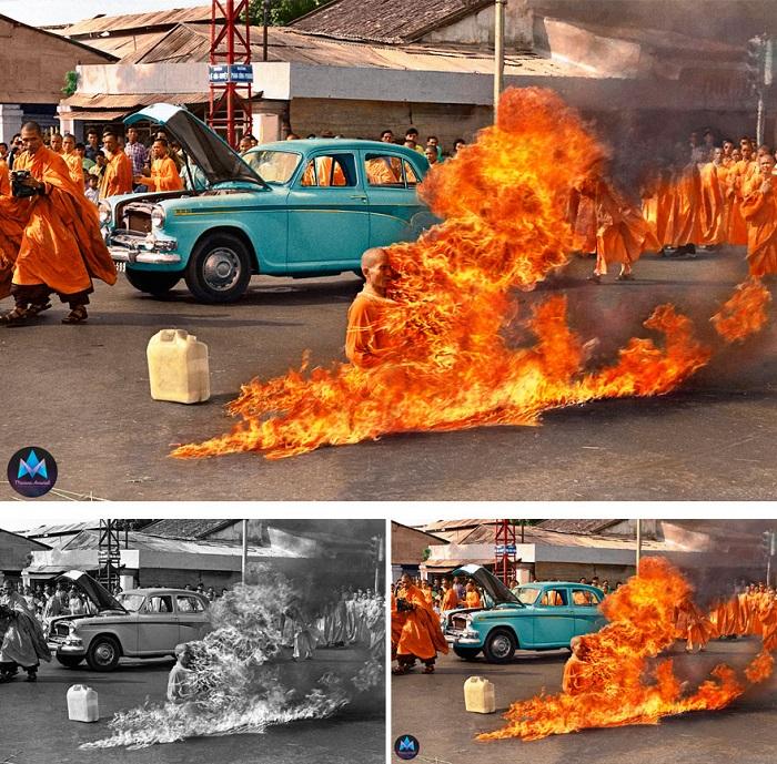 11 июня 1963 года в Сайгоне буддисты прошли маршем по главным улицам города, а после один из монахов опустился на колени, прочитал мантру и поджег сам себя.