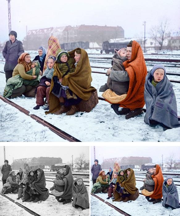 Польские женщины, пригнанные на принудительные работы в Германию, после освобождения.