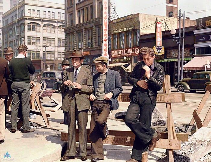 Безработные на улице Сан-Франциско.
