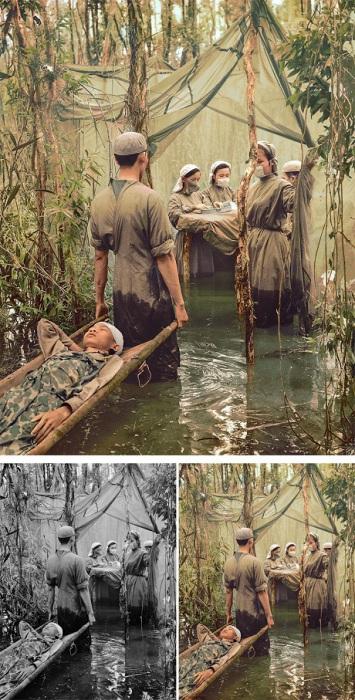 Жертву американской бомбардировки, камбоджийского партизана, несут в полевой госпиталь в мангровых зарослях на мысе Камау, 15 сентября 1970 года.