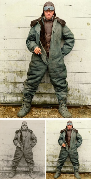 Пилот Уильям Хопсон в зимней лётной униформе Почтовой службы США, 1926 год.