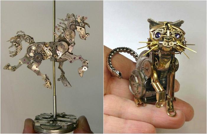 Стимпанк-скульптуры из старых часов.