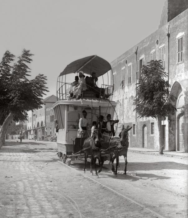 Вагон такого «трамвая» приводился в движение тягловыми животными, в данном случае мулами.