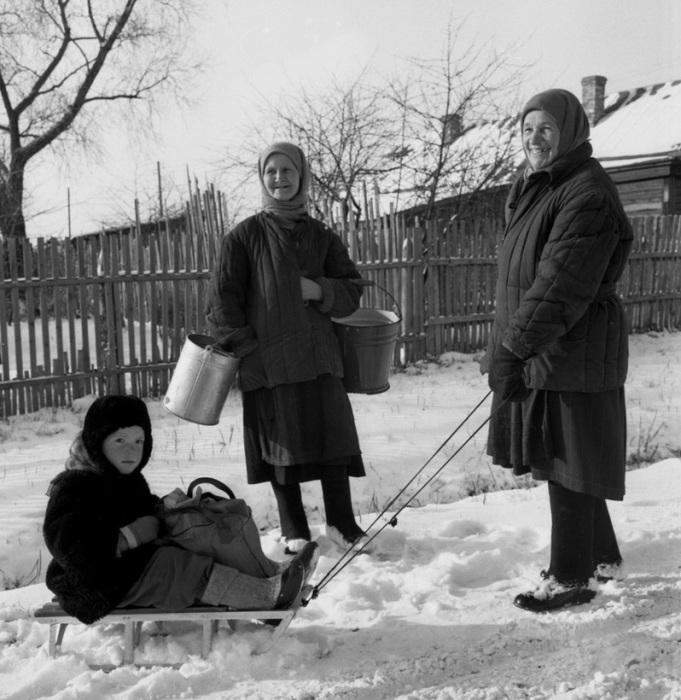 Крестьяне в Московской области, зима 1959 года.