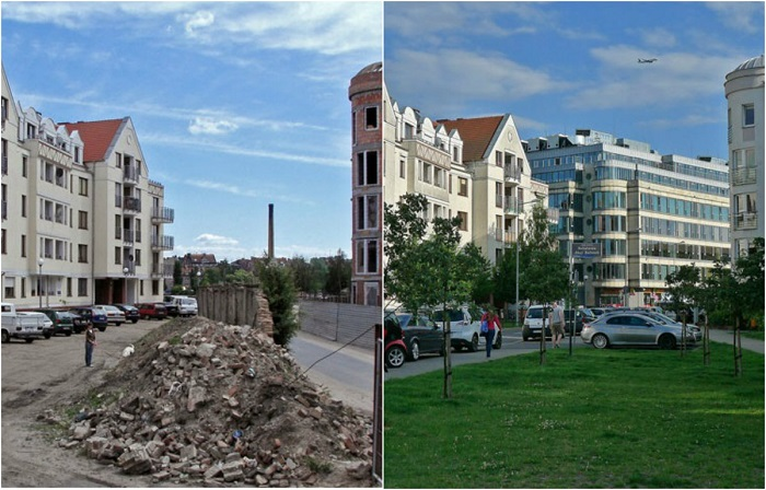 Сравнительные фотографии, показывающие изменившийся облик городов.